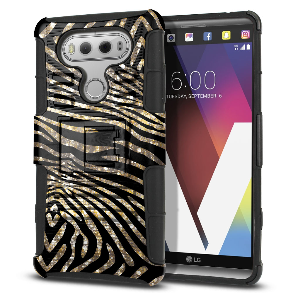 LG V20 VS995 H990 LS997 H910 H918 US996 Hybrid Rigid Stand Zebra Stripes Gold Protector Cover Case