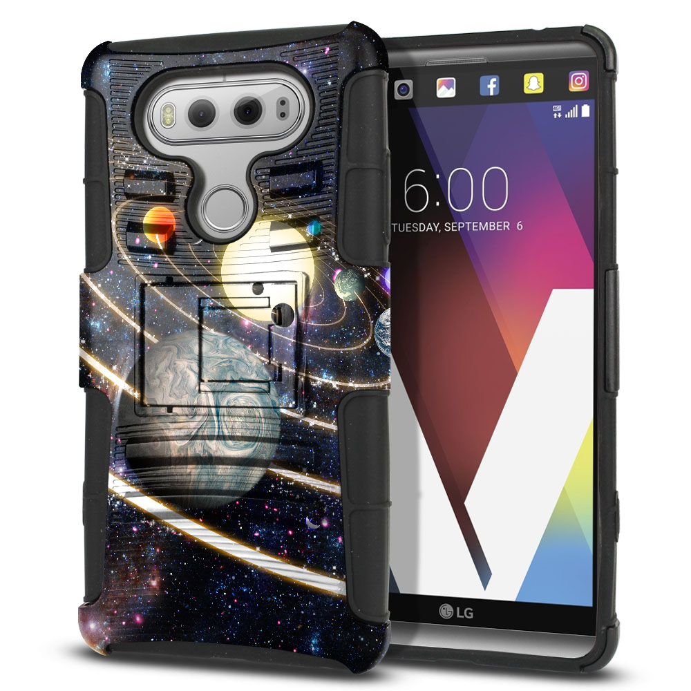 LG V20 VS995 H990 LS997 H910 H918 US996 Hybrid Rigid Stand Rings of Solar System Protector Cover Case