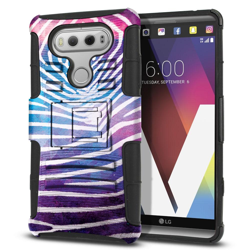 LG V20 VS995 H990 LS997 H910 H918 US996 Hybrid Rigid Stand Zebra Stripes White Protector Cover Case