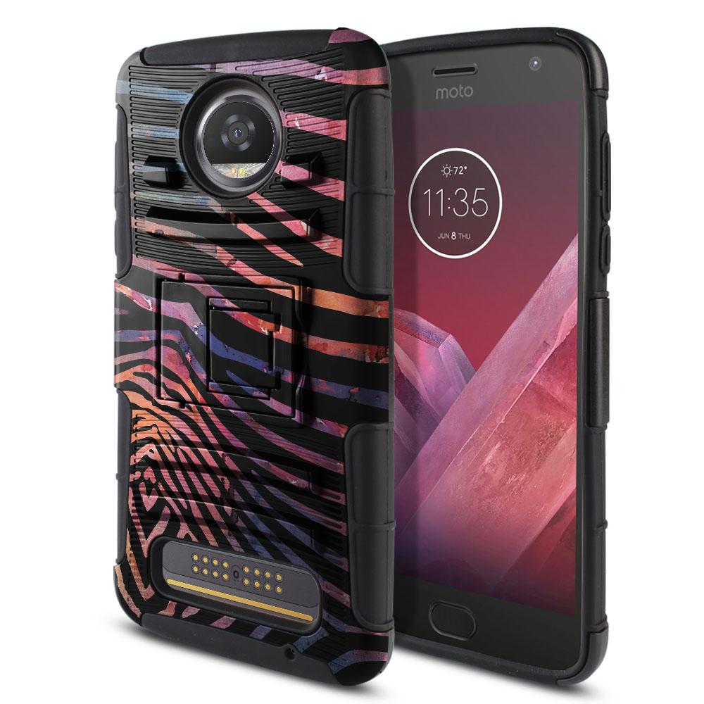 Motorola Moto Z2 Play 2nd Gen 2017 Hybrid Rigid Stand Zebra Stripes Dusk Protector Cover Case