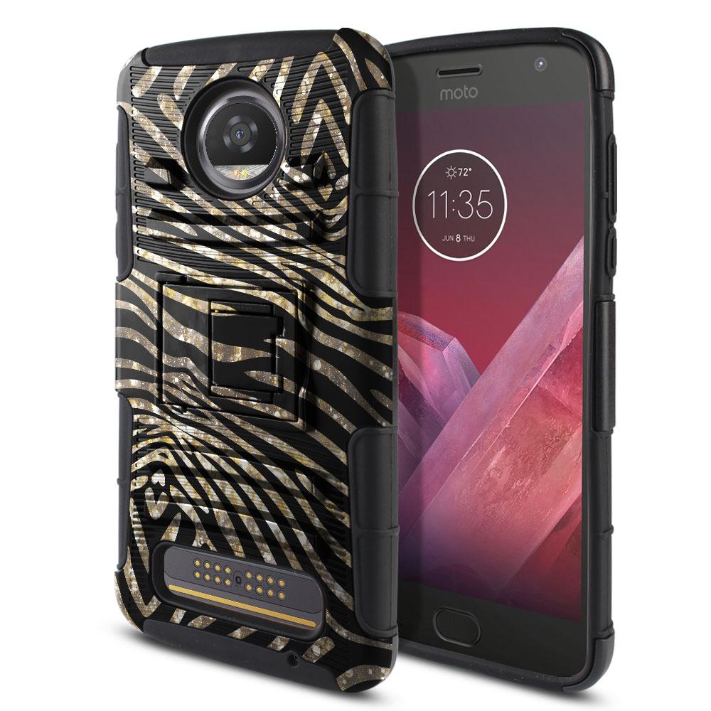 Motorola Moto Z2 Play 2nd Gen 2017 Hybrid Rigid Stand Zebra Stripes Gold Protector Cover Case