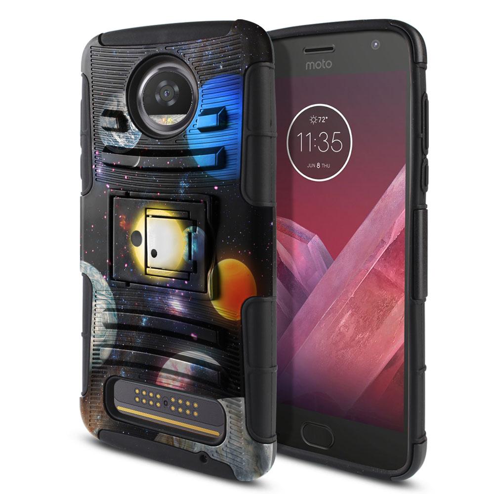 Motorola Moto Z2 Play 2nd Gen 2017 Hybrid Rigid Stand Planet Solar System 2 Protector Cover Case