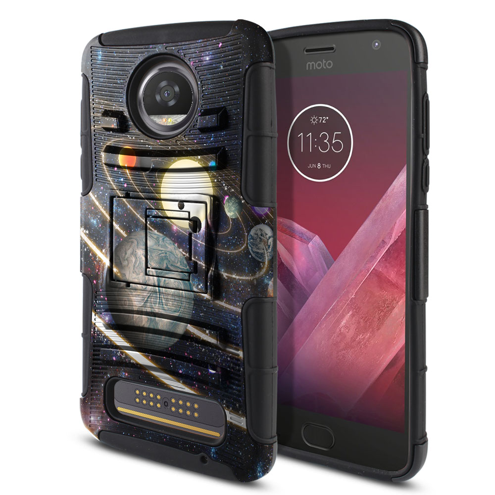 Motorola Moto Z2 Play 2nd Gen 2017 Hybrid Rigid Stand Rings of Solar System Protector Cover Case