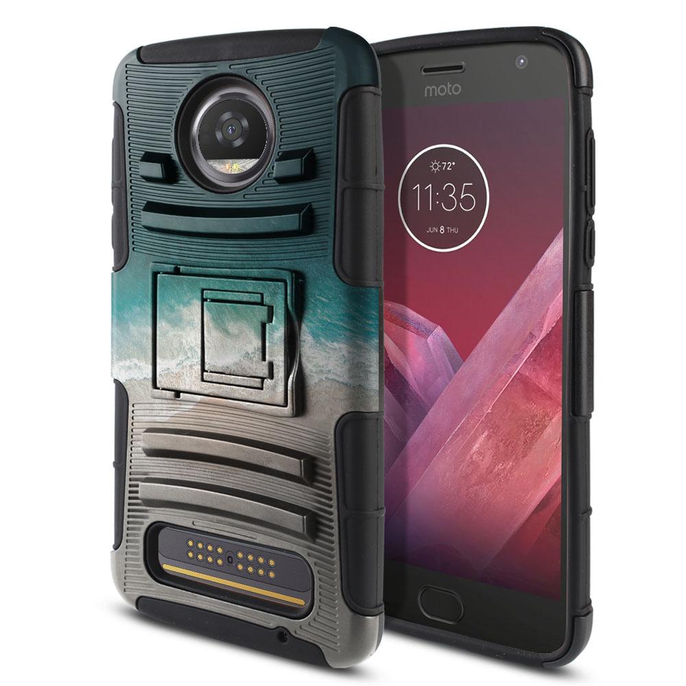 Motorola Moto Z2 Play 2nd Gen 2017 Hybrid Rigid Stand Sandy Beach Protector Cover Case