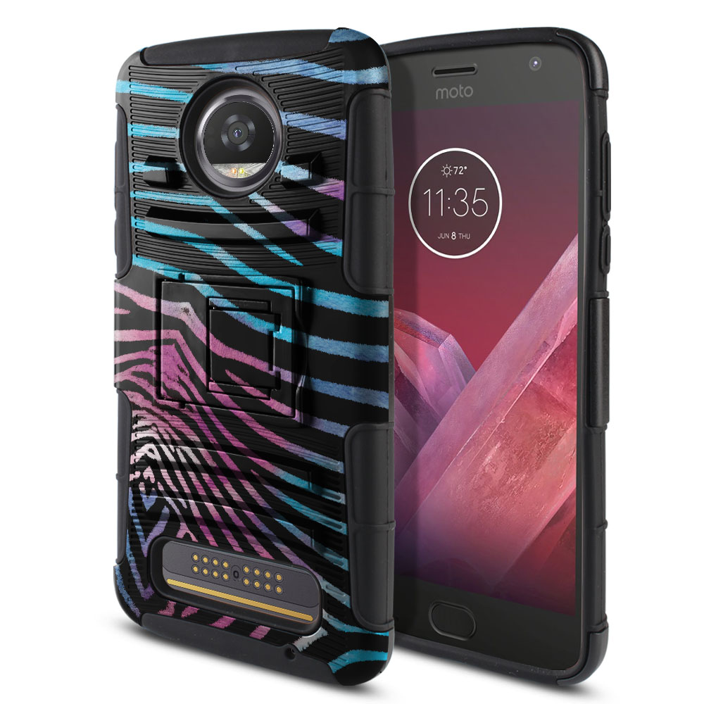 Motorola Moto Z2 Play 2nd Gen 2017 Hybrid Rigid Stand Zebra Stripes Black Protector Cover Case