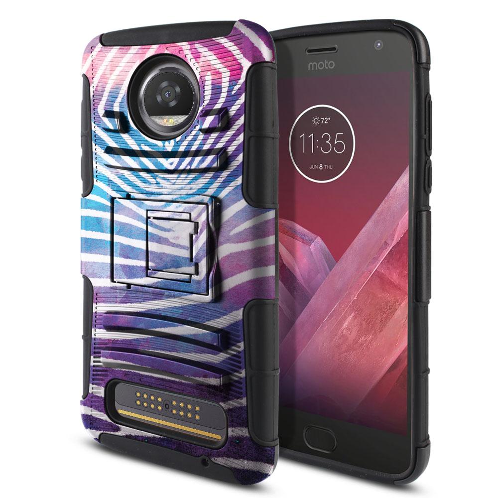 Motorola Moto Z2 Play 2nd Gen 2017 Hybrid Rigid Stand Zebra Stripes White Protector Cover Case