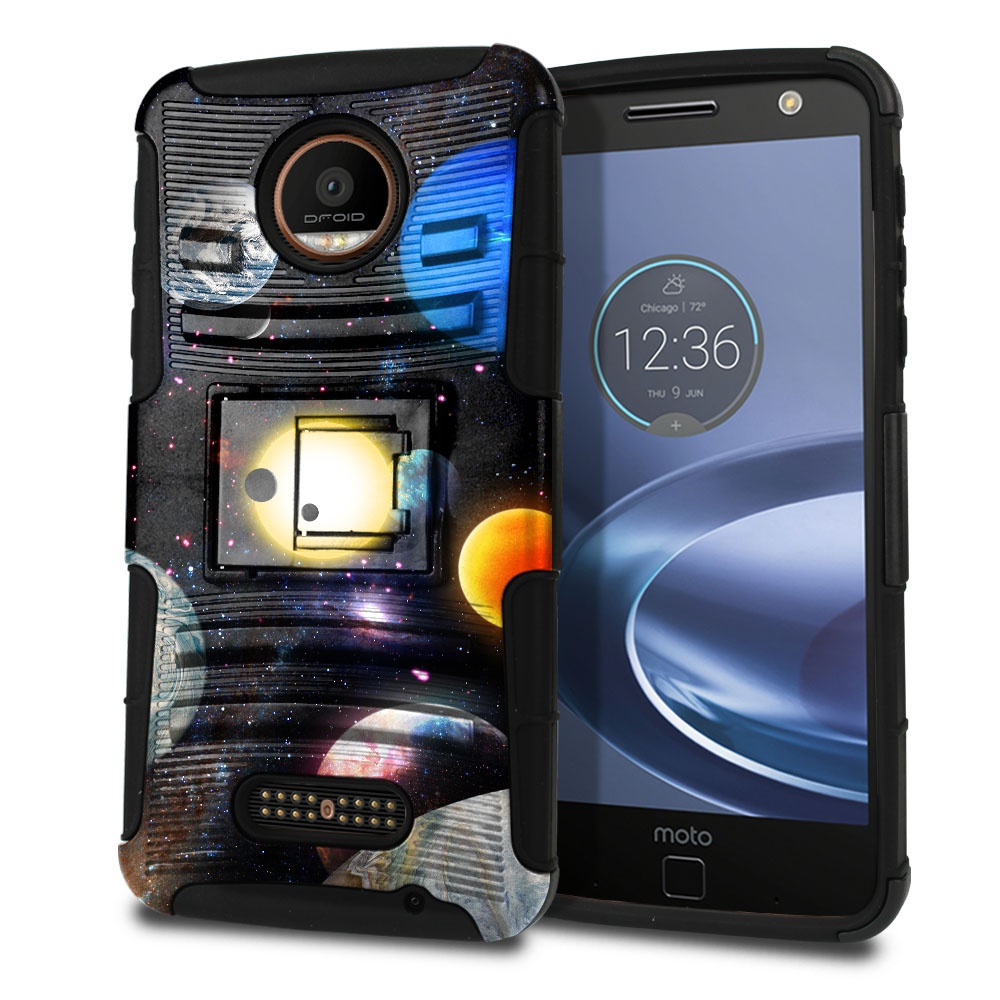 Motorola Moto Z Force Droid Edition Hybrid Rigid Stand Planet Solar System 2 Protector Cover Case
