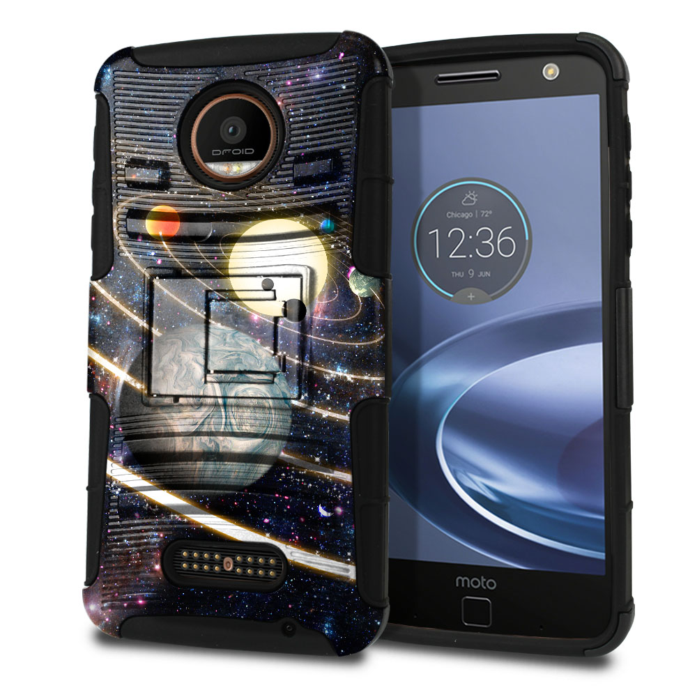 Motorola Moto Z Force Droid Edition Hybrid Rigid Stand Rings of Solar System Protector Cover Case