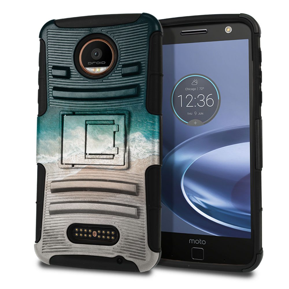 Motorola Moto Z Force Droid Edition Hybrid Rigid Stand Sandy Beach Protector Cover Case
