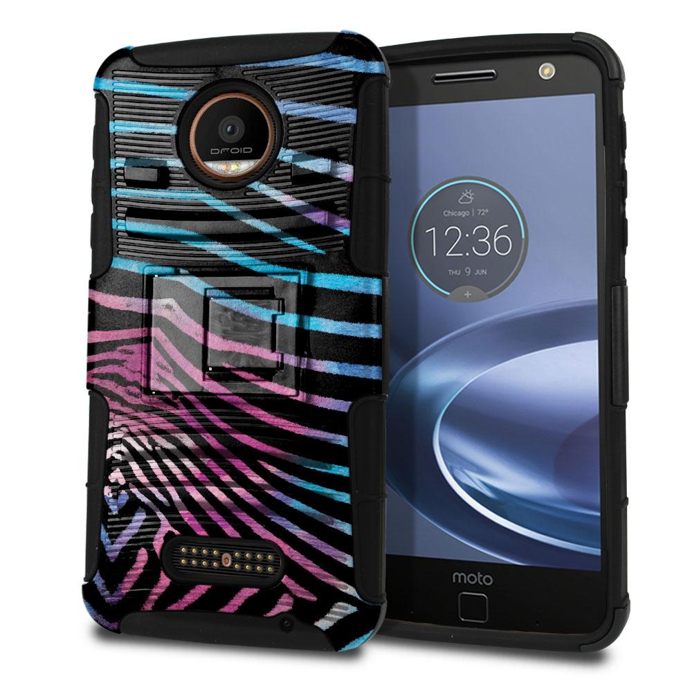Motorola Moto Z Force Droid Edition Hybrid Rigid Stand Zebra Stripes Black Protector Cover Case