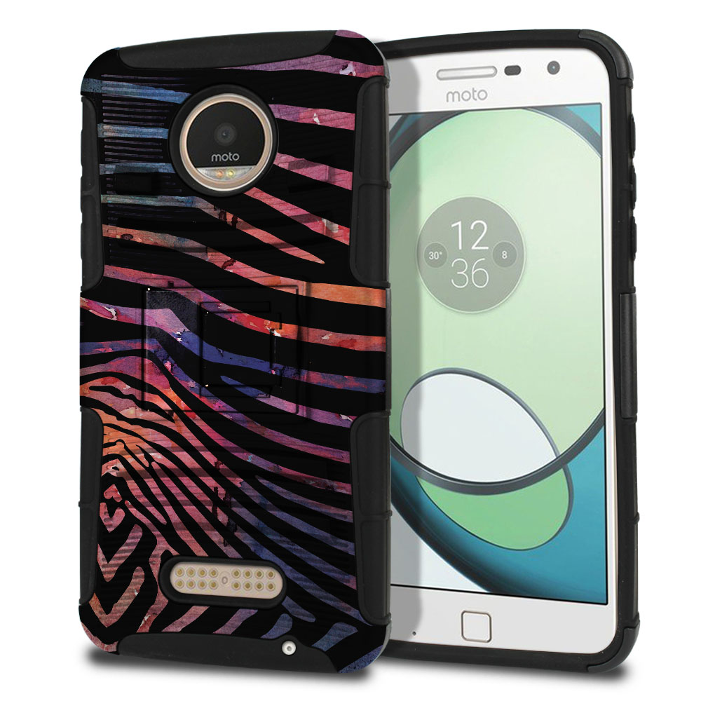 Motorola Moto Z Play Droid XT1635 Hybrid Rigid Stand Zebra Stripes Dusk Protector Cover Case