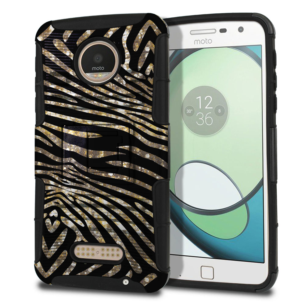 Motorola Moto Z Play Droid XT1635 Hybrid Rigid Stand Zebra Stripes Gold Protector Cover Case