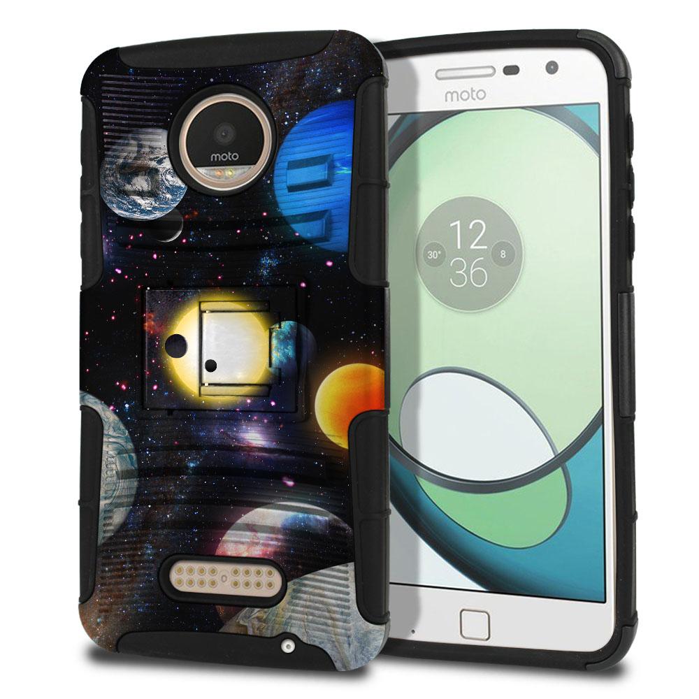 Motorola Moto Z Play Droid XT1635 Hybrid Rigid Stand Planet Solar System 2 Protector Cover Case