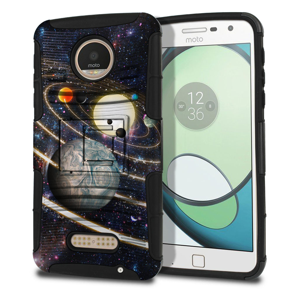 Motorola Moto Z Play Droid XT1635 Hybrid Rigid Stand Rings of Solar System Protector Cover Case