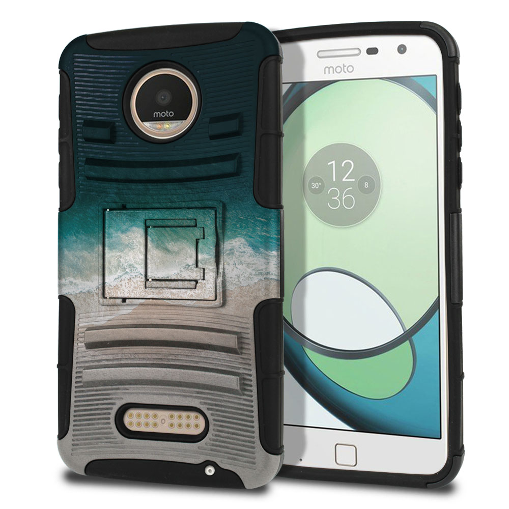 Motorola Moto Z Play Droid XT1635 Hybrid Rigid Stand Sandy Beach Protector Cover Case