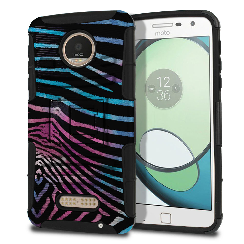 Motorola Moto Z Play Droid XT1635 Hybrid Rigid Stand Zebra Stripes Black Protector Cover Case