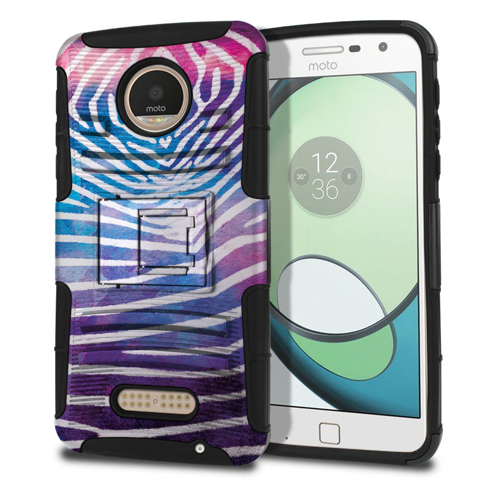 Motorola Moto Z Play Droid XT1635 Hybrid Rigid Stand Zebra Stripes White Protector Cover Case