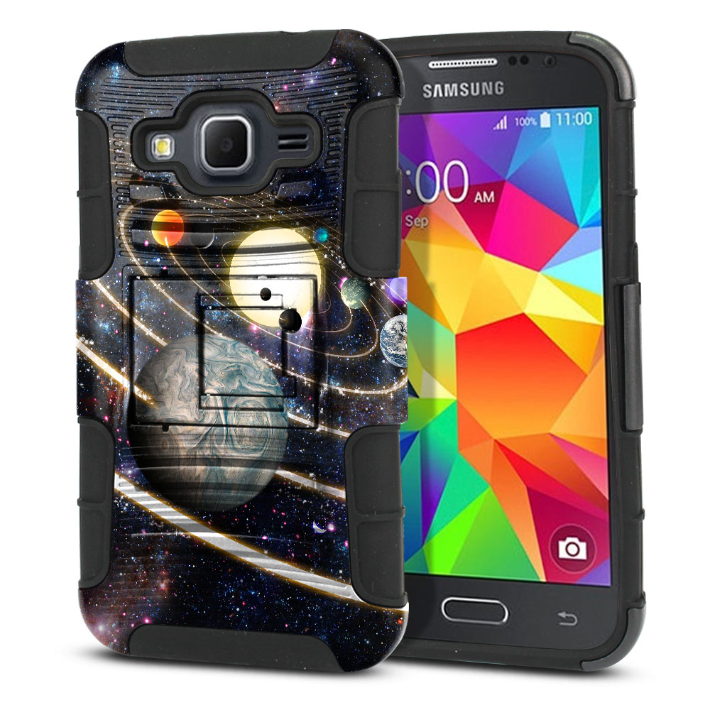 Samsung Galaxy Core Prime G360 Hybrid Rigid Stand Rings of Solar System Protector Cover Case