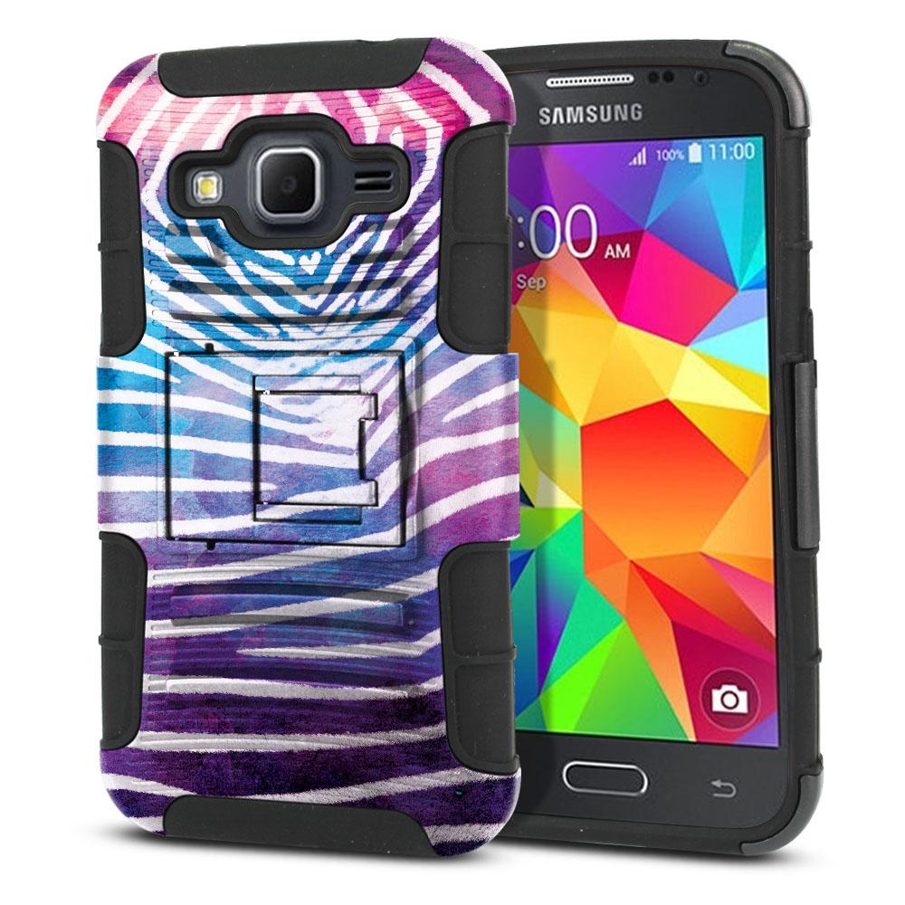 Samsung Galaxy Core Prime G360 Hybrid Rigid Stand Zebra Stripes White Protector Cover Case