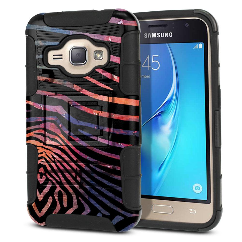 Samsung Galaxy J1 J120 2nd Gen 2016 Hybrid Rigid Stand Zebra Stripes Dusk Protector Cover Case