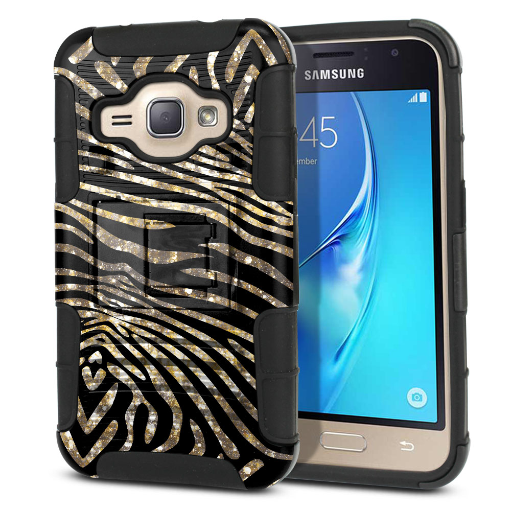 Samsung Galaxy J1 J120 2nd Gen 2016 Hybrid Rigid Stand Zebra Stripes Gold Protector Cover Case