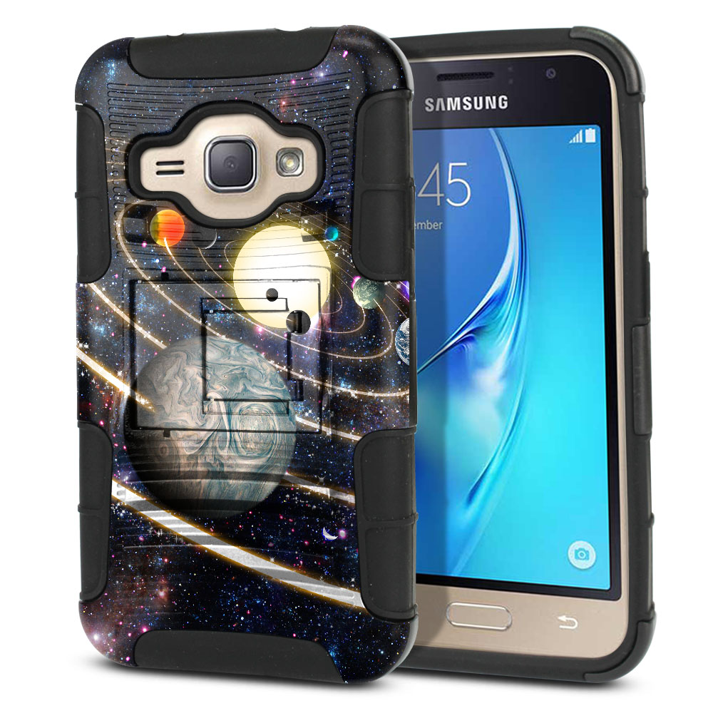 Samsung Galaxy J1 J120 2nd Gen 2016 Hybrid Rigid Stand Rings of Solar System Protector Cover Case
