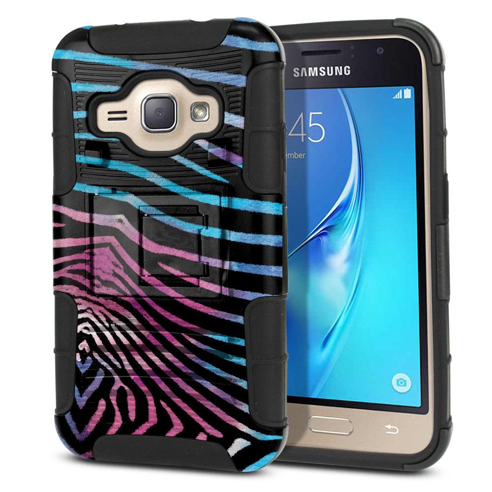 Samsung Galaxy J1 J120 2nd Gen 2016 Hybrid Rigid Stand Zebra Stripes Black Protector Cover Case