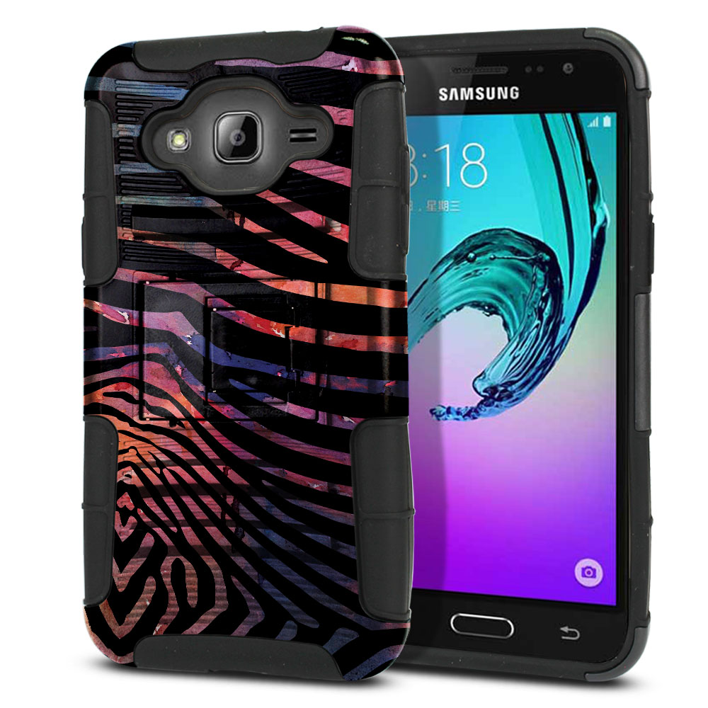 Samsung Galaxy J3 J310 J320 Hybrid Rigid Stand Zebra Stripes Dusk Protector Cover Case