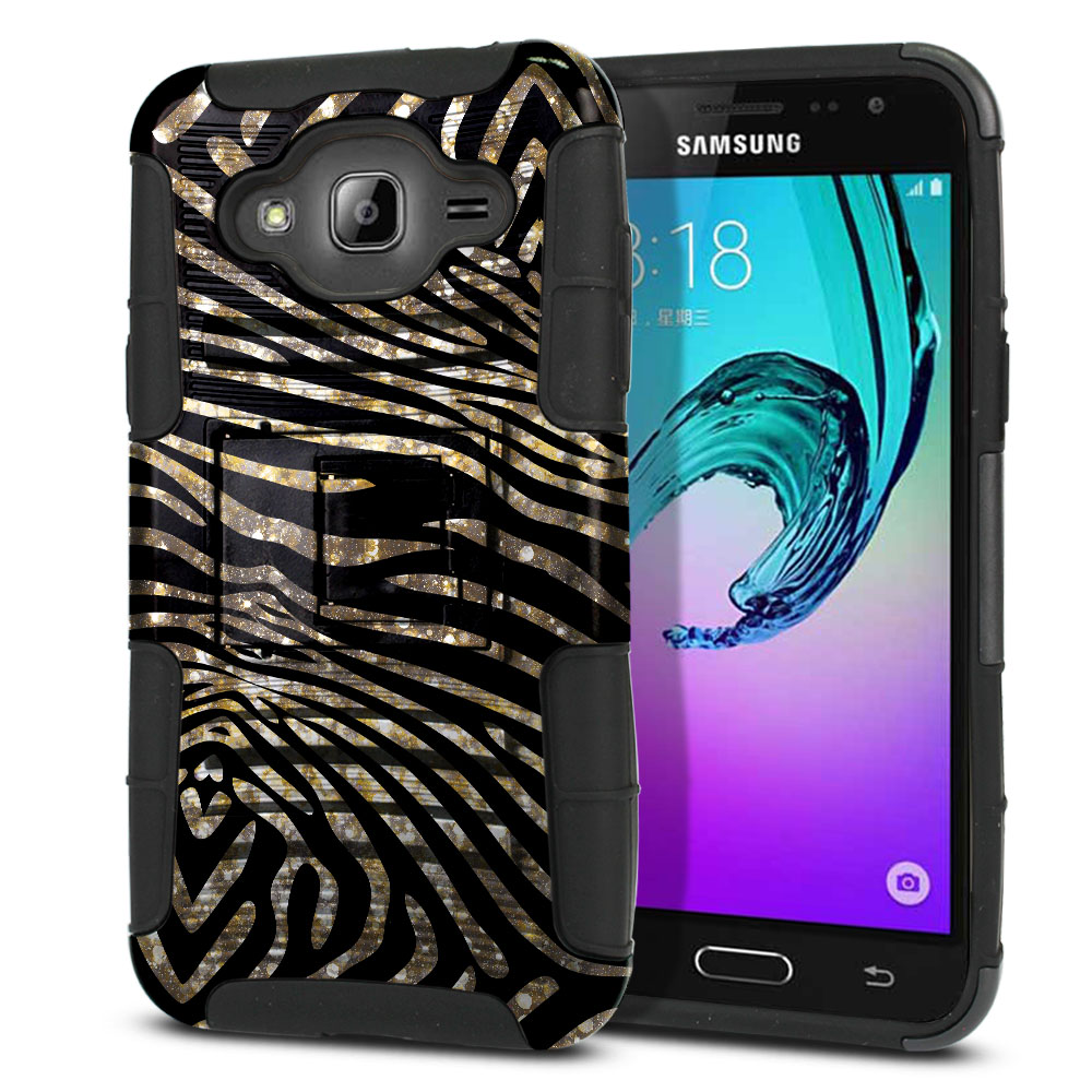 Samsung Galaxy J3 J310 J320 Hybrid Rigid Stand Zebra Stripes Gold Protector Cover Case