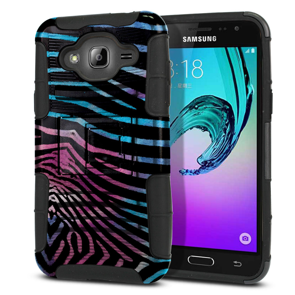 Samsung Galaxy J3 J310 J320 Hybrid Rigid Stand Zebra Stripes Black Protector Cover Case