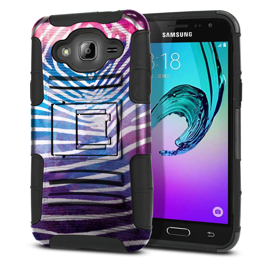 Samsung Galaxy J3 J310 J320 Hybrid Rigid Stand Zebra Stripes White Protector Cover Case