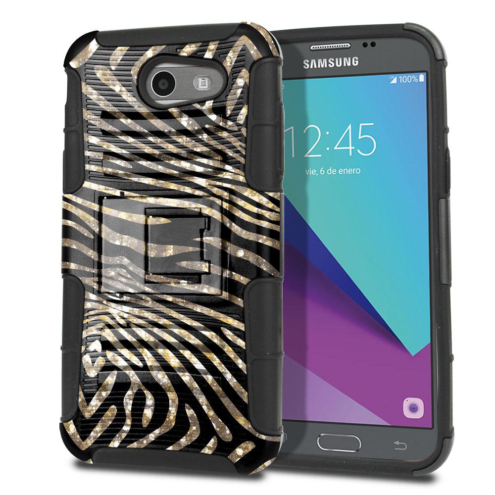 Samsung Galaxy J3 Emerge J327 2017 2nd Gen Hybrid Rigid Stand Zebra Stripes Gold Protector Cover Case