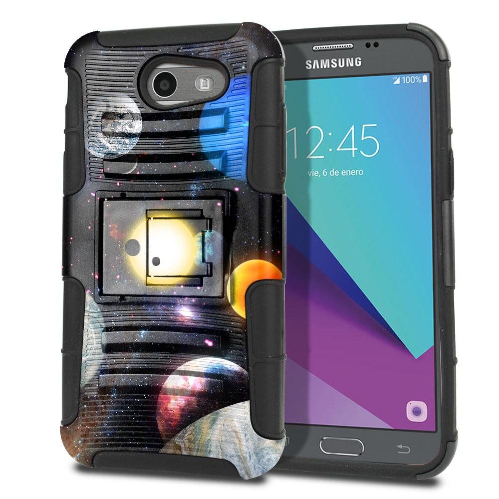 Samsung Galaxy J3 Emerge J327 2017 2nd Gen Hybrid Rigid Stand Planet Solar System 2 Protector Cover Case