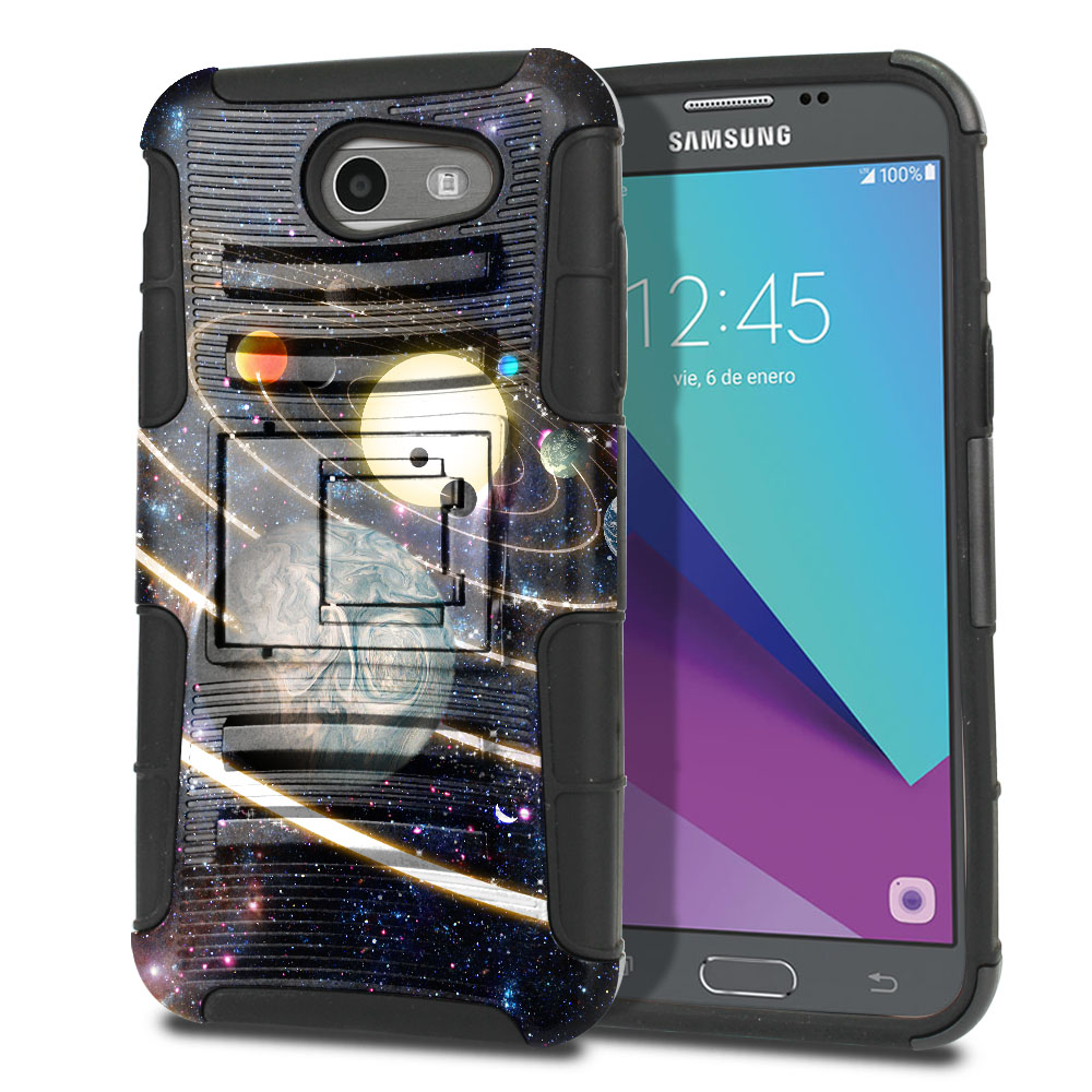 Samsung Galaxy J3 Emerge J327 2017 2nd Gen Hybrid Rigid Stand Rings of Solar System Protector Cover Case