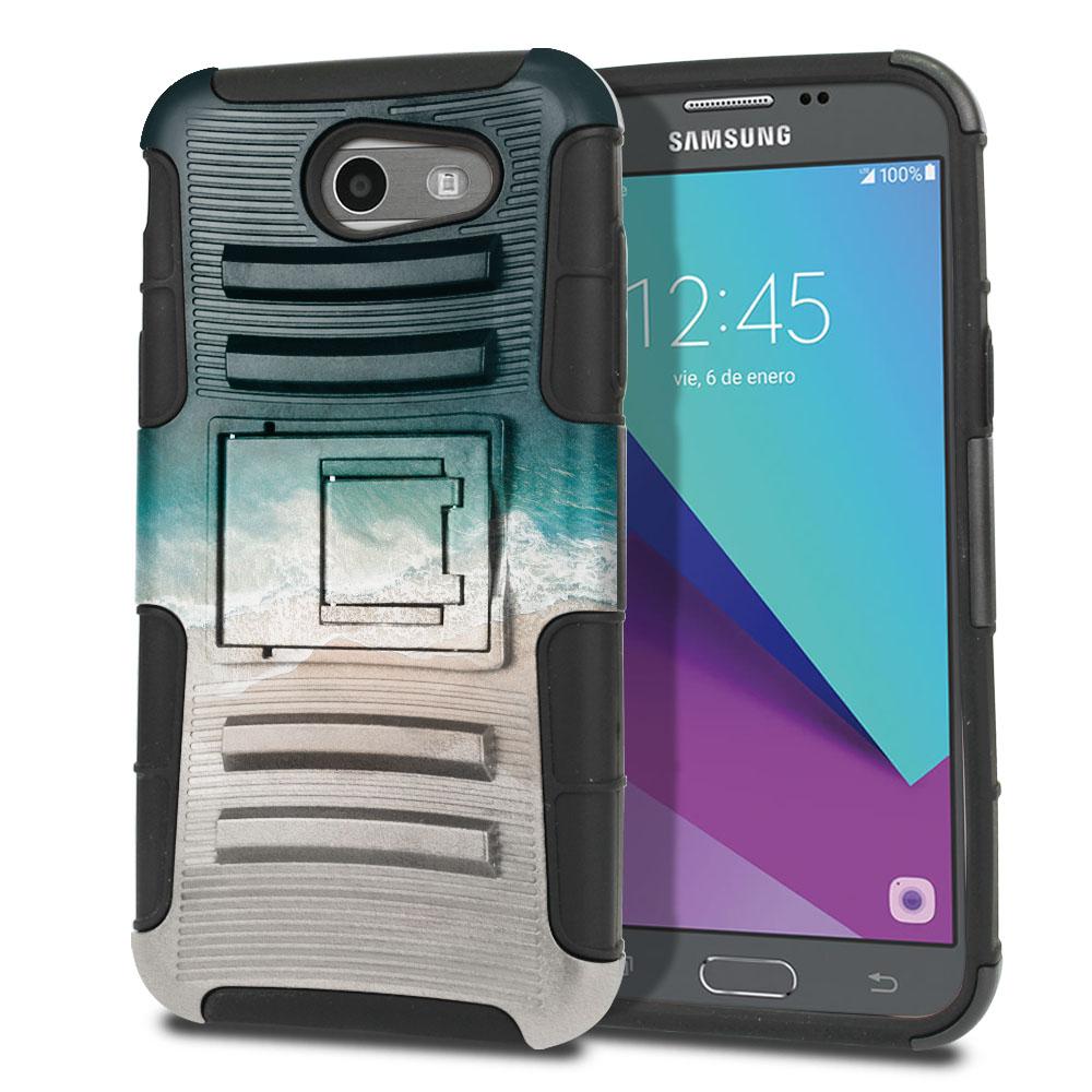 Samsung Galaxy J3 Emerge J327 2017 2nd Gen Hybrid Rigid Stand Sandy Beach Protector Cover Case