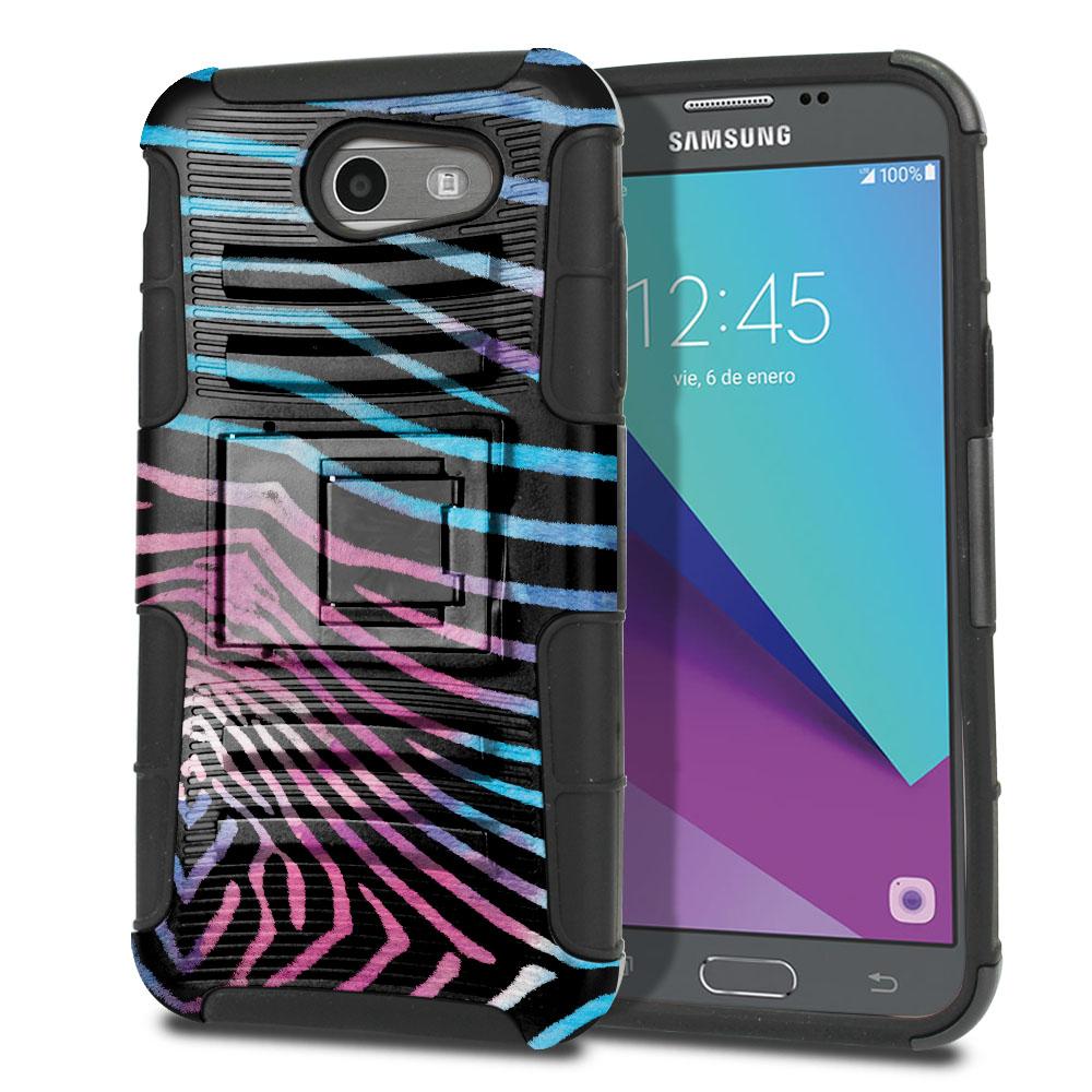 Samsung Galaxy J3 Emerge J327 2017 2nd Gen Hybrid Rigid Stand Zebra Stripes Black Protector Cover Case