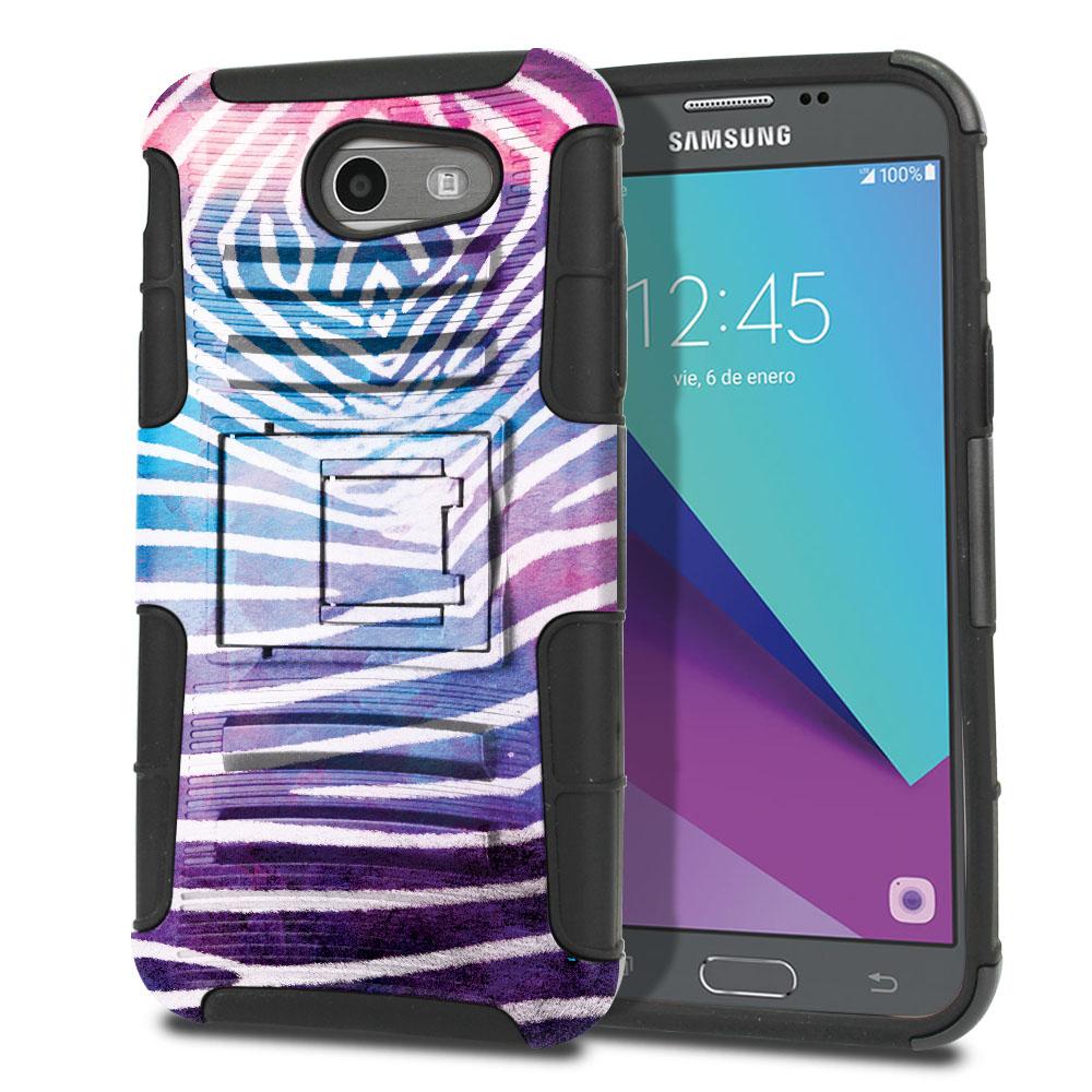 Samsung Galaxy J3 Emerge J327 2017 2nd Gen Hybrid Rigid Stand Zebra Stripes White Protector Cover Case