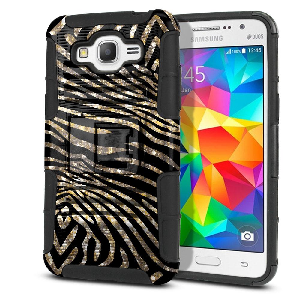 Samsung Galaxy Grand Prime G530 Hybrid Rigid Stand Zebra Stripes Gold Protector Cover Case
