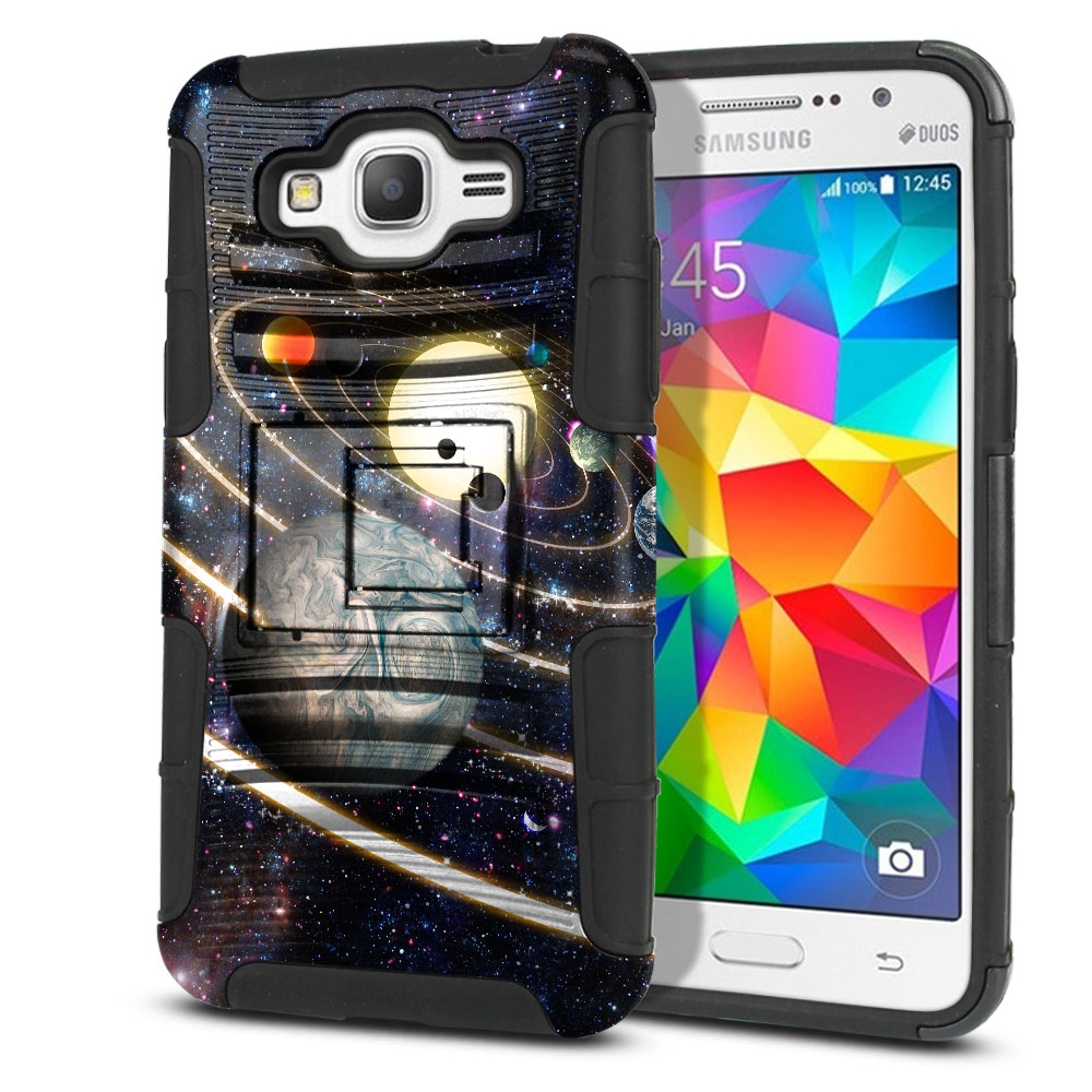 Samsung Galaxy Grand Prime G530 Hybrid Rigid Stand Rings of Solar System Protector Cover Case