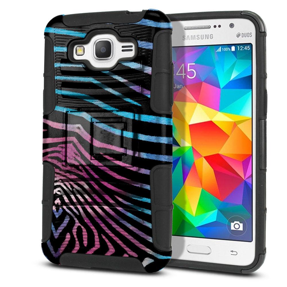 Samsung Galaxy Grand Prime G530 Hybrid Rigid Stand Zebra Stripes Black Protector Cover Case