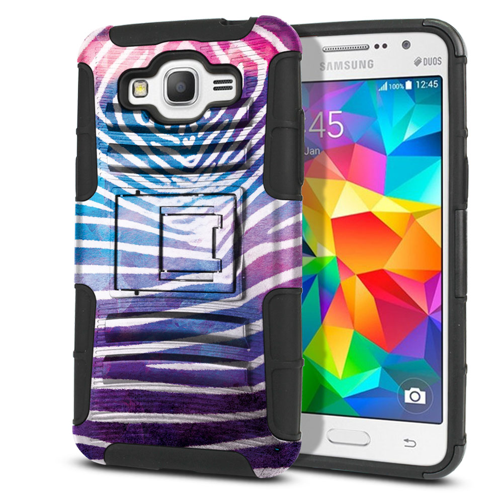 Samsung Galaxy Grand Prime G530 Hybrid Rigid Stand Zebra Stripes White Protector Cover Case