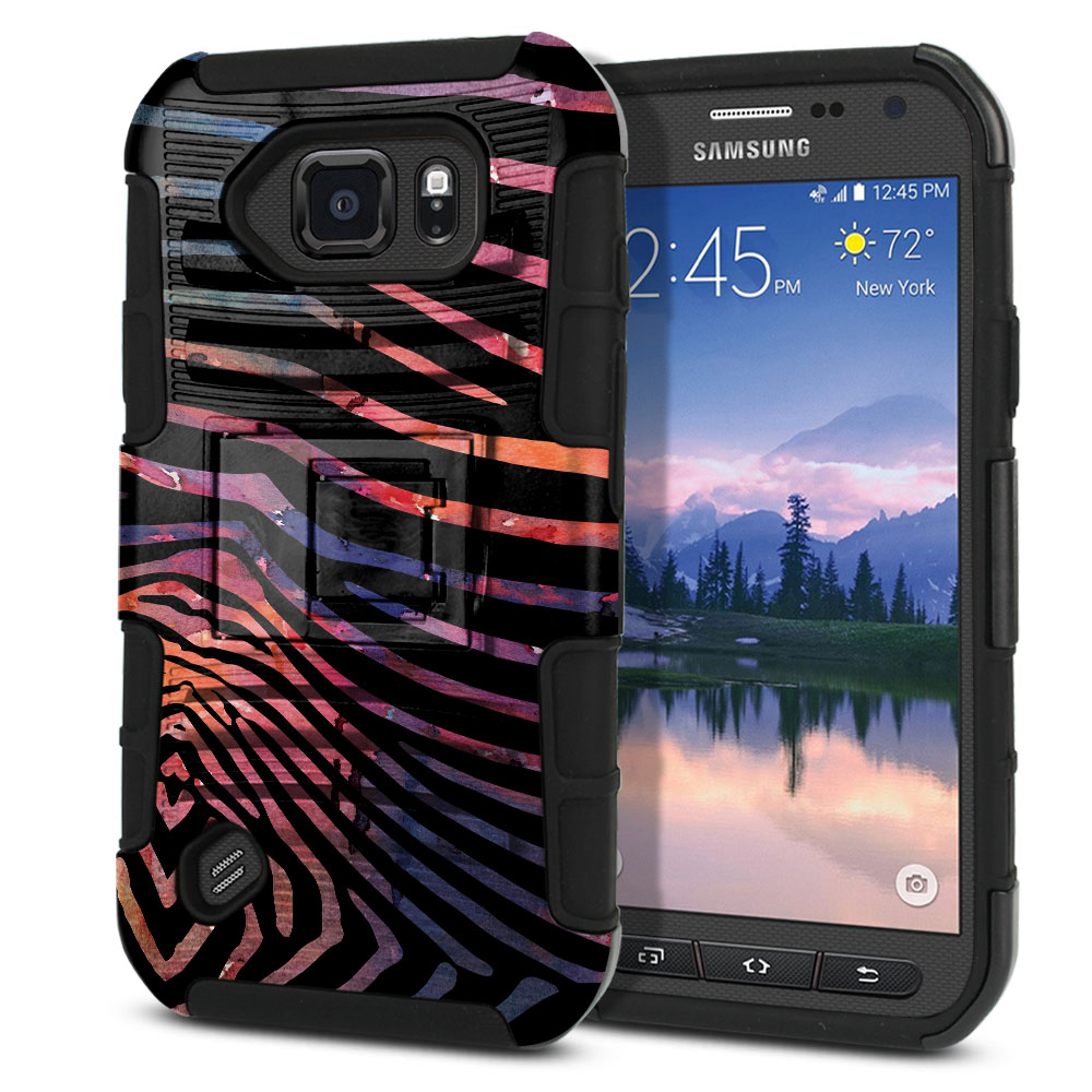 Samsung Galaxy S6 Active G890 Hybrid Rigid Stand Zebra Stripes Dusk Protector Cover Case