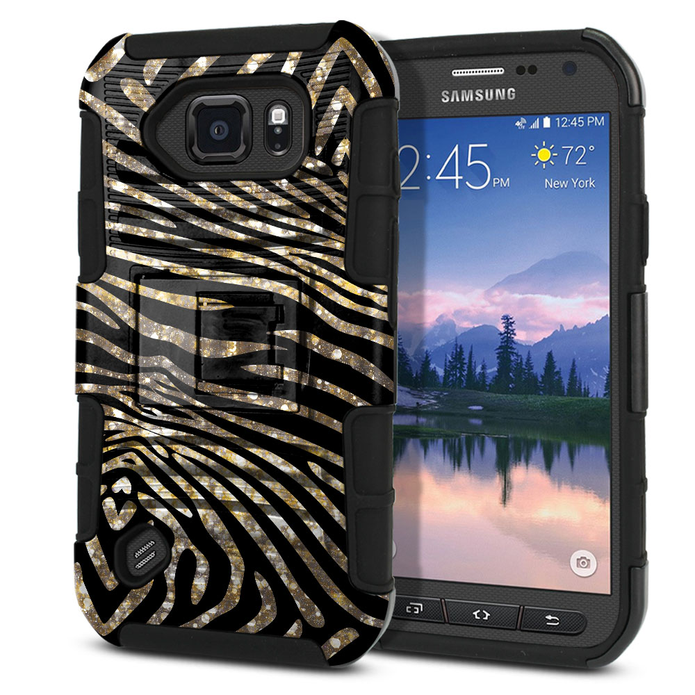 Samsung Galaxy S6 Active G890 Hybrid Rigid Stand Zebra Stripes Gold Protector Cover Case
