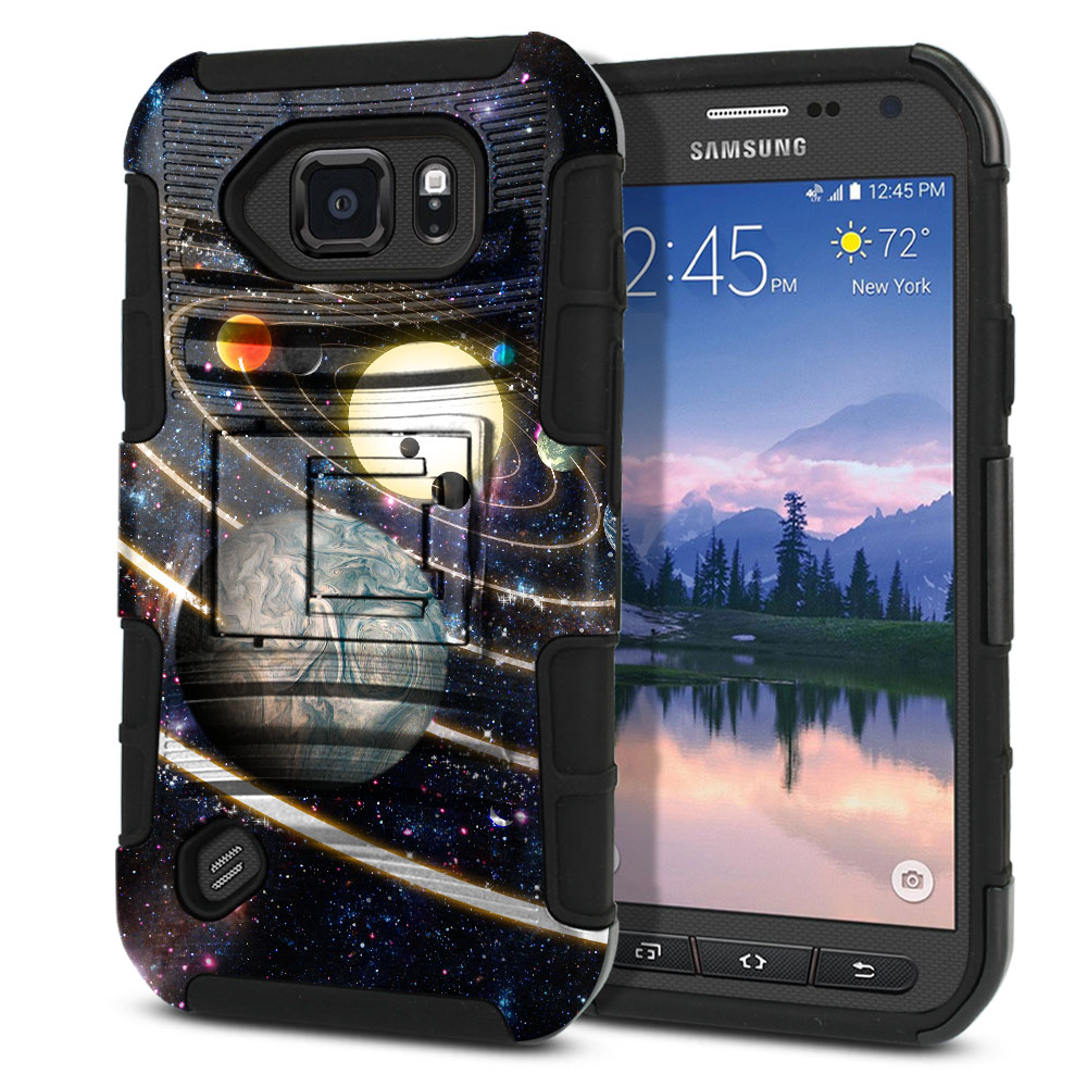 Samsung Galaxy S6 Active G890 Hybrid Rigid Stand Rings of Solar System Protector Cover Case