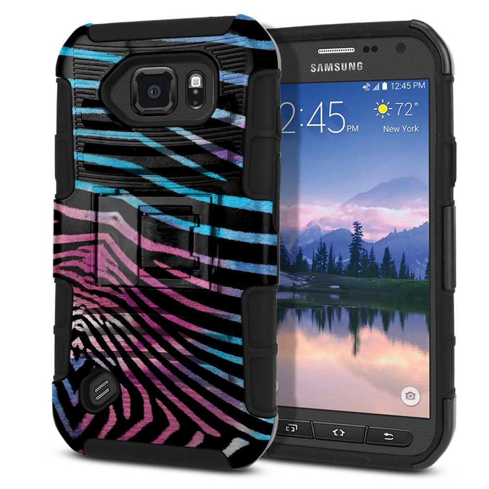 Samsung Galaxy S6 Active G890 Hybrid Rigid Stand Zebra Stripes Black Protector Cover Case