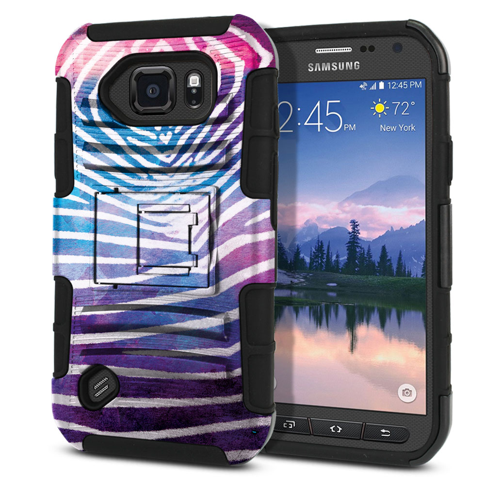 Samsung Galaxy S6 Active G890 Hybrid Rigid Stand Zebra Stripes White Protector Cover Case