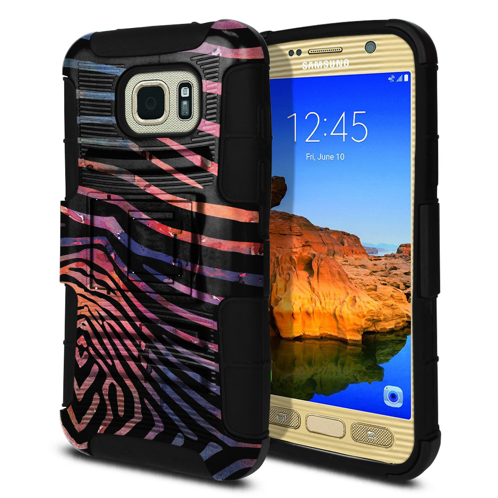 Samsung Galaxy S7 Active G891 Hybrid Rigid Stand Zebra Stripes Dusk Protector Cover Case