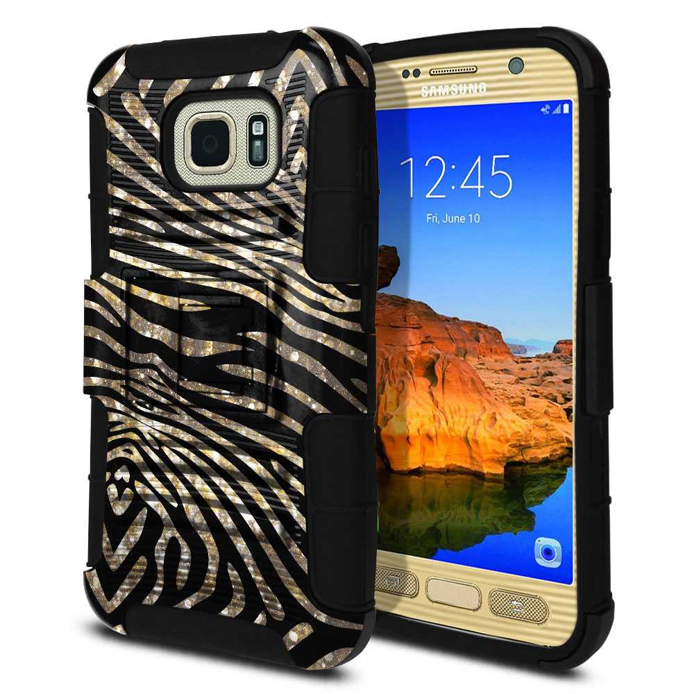 Samsung Galaxy S7 Active G891 Hybrid Rigid Stand Zebra Stripes Gold Protector Cover Case