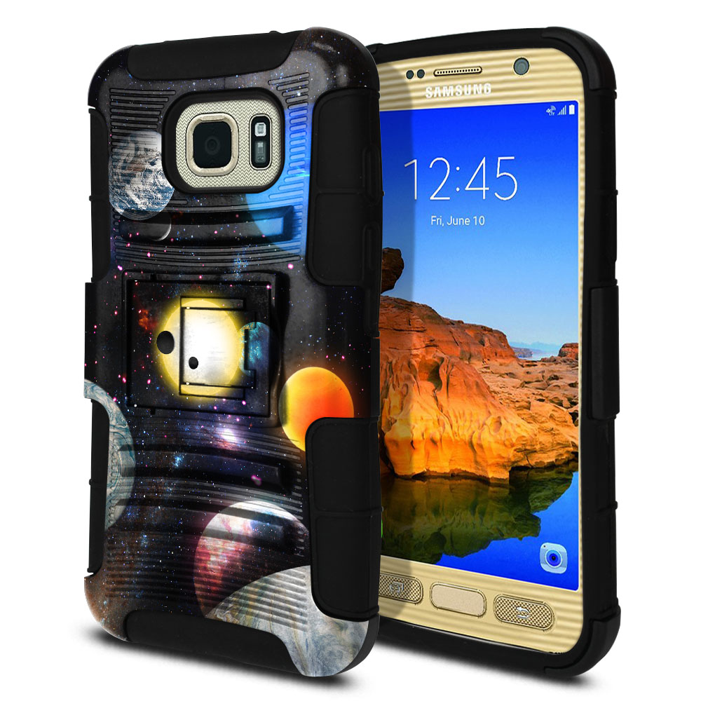 Samsung Galaxy S7 Active G891 Hybrid Rigid Stand Planet Solar System 2 Protector Cover Case