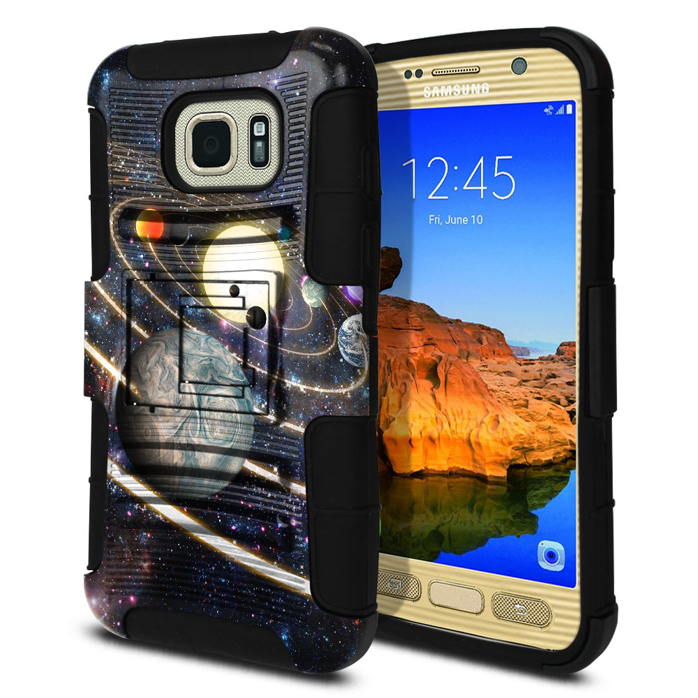 Samsung Galaxy S7 Active G891 Hybrid Rigid Stand Rings of Solar System Protector Cover Case
